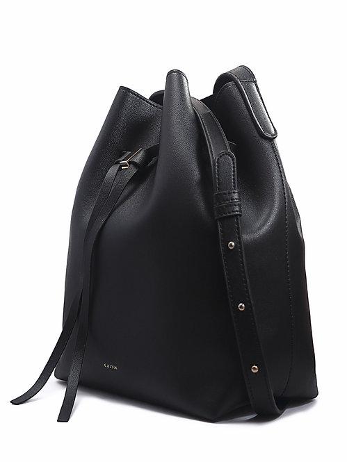 Drawstring Bucket Sling Bag - black