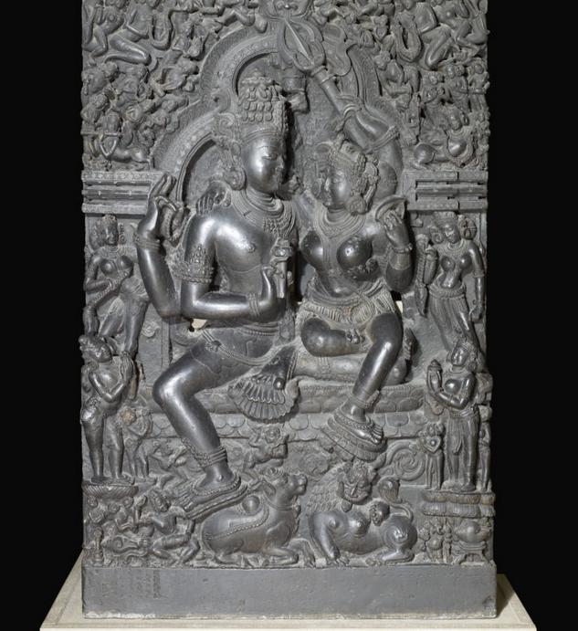 Hindu art - Shiva and Parvati Stone sculpture in india