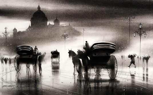 charcoal painting on canvas