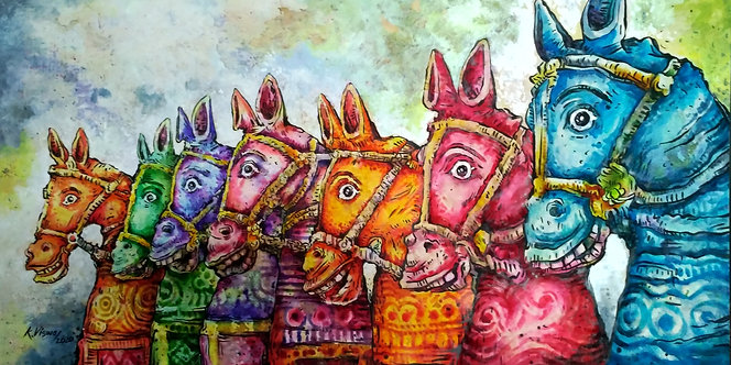horse painting colorful