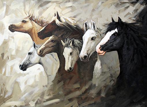 7 horses painting hd