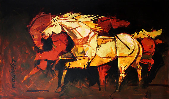 canvas painting horse
