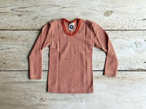 Tröja ullsilke orange rand | Cosilana