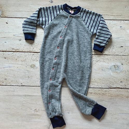 Pyjamas ullfrotté grå rand | Engel
