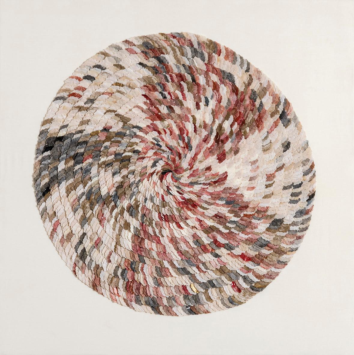 Picus viridis feather/2017/120x120 cm