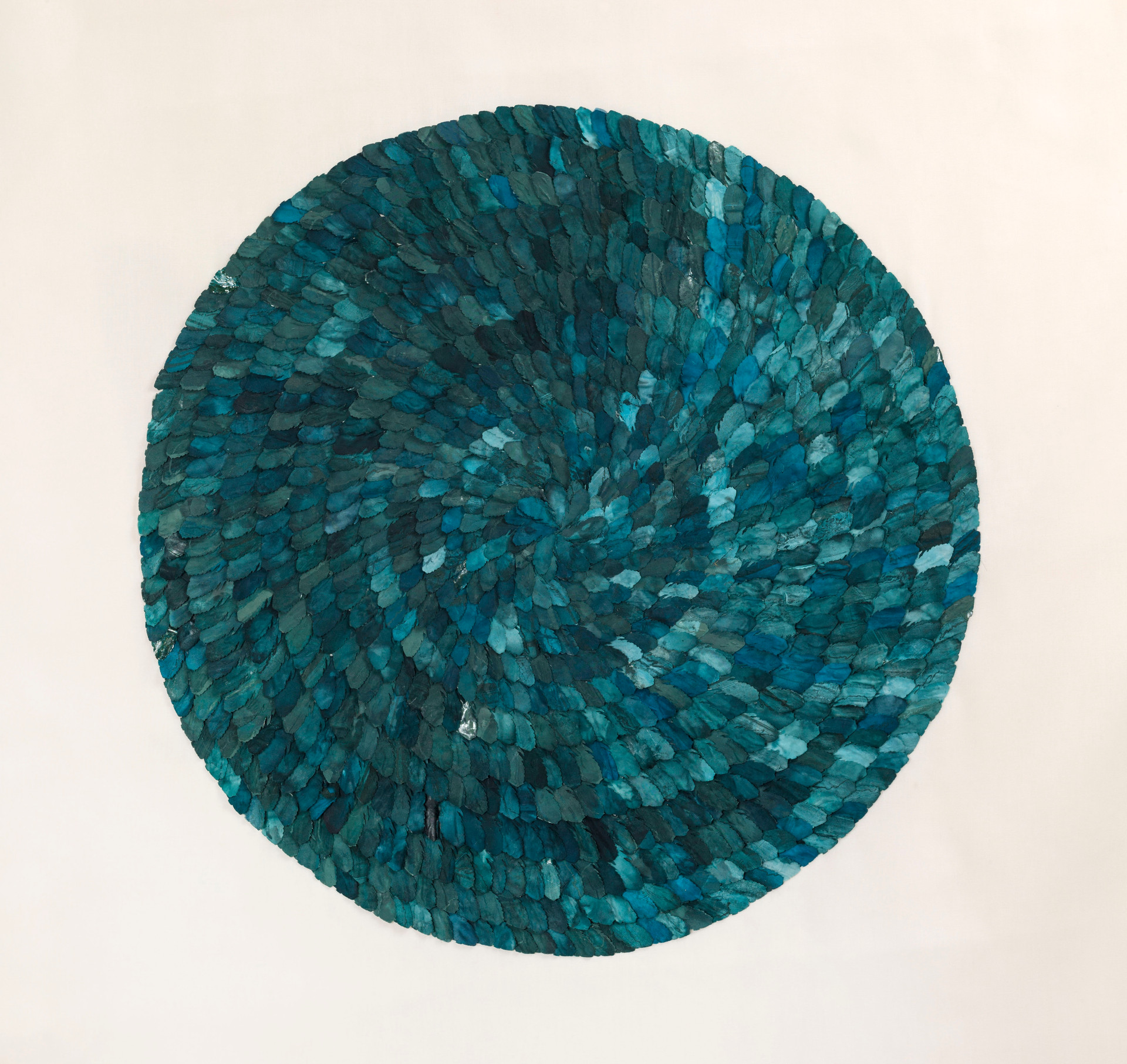 Engraved blue feather/2014/Silk Paper Etching/110x110 cm