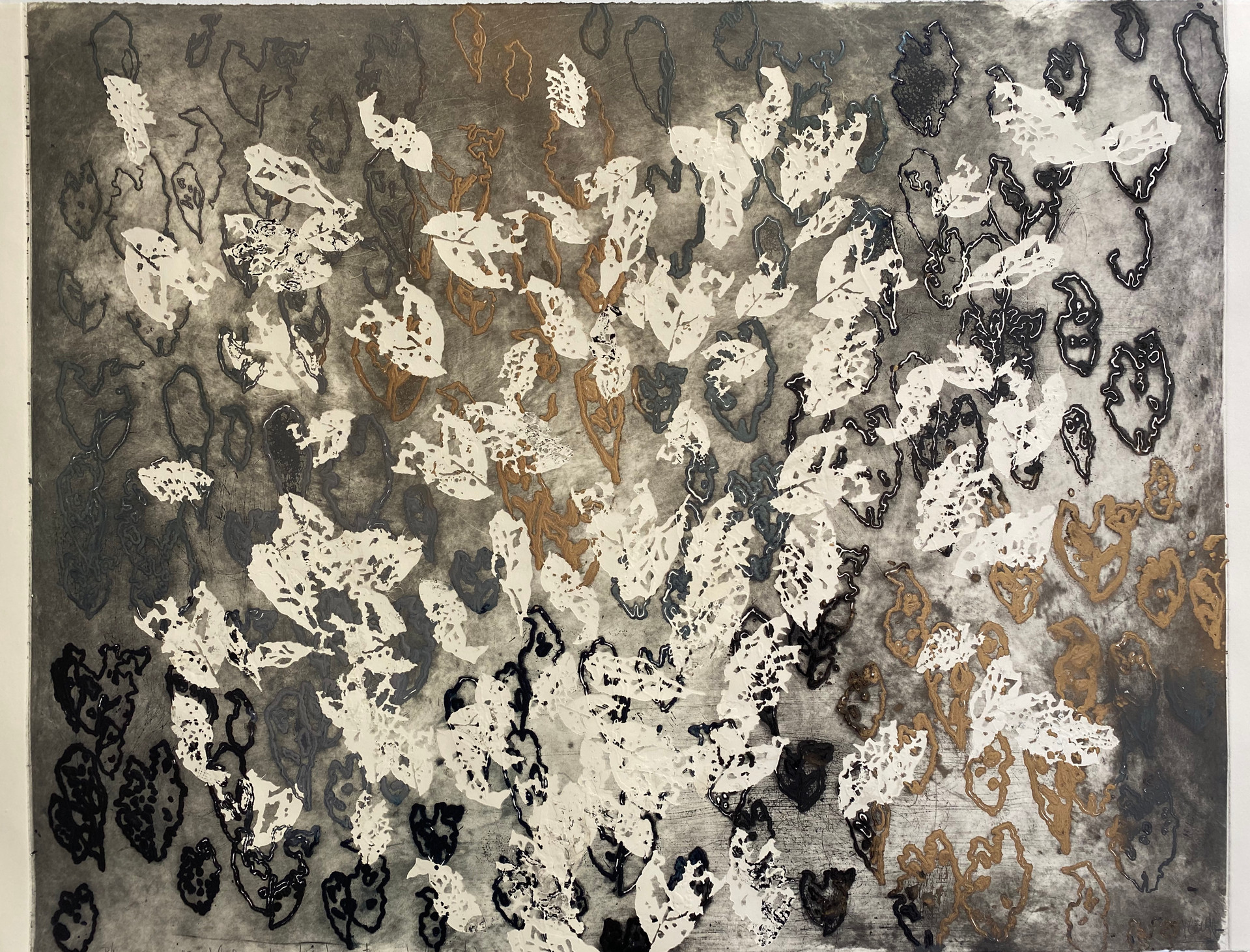 Moving Leaves Series I/2020/Etching & Mixed techniques on paper/110x80 cm