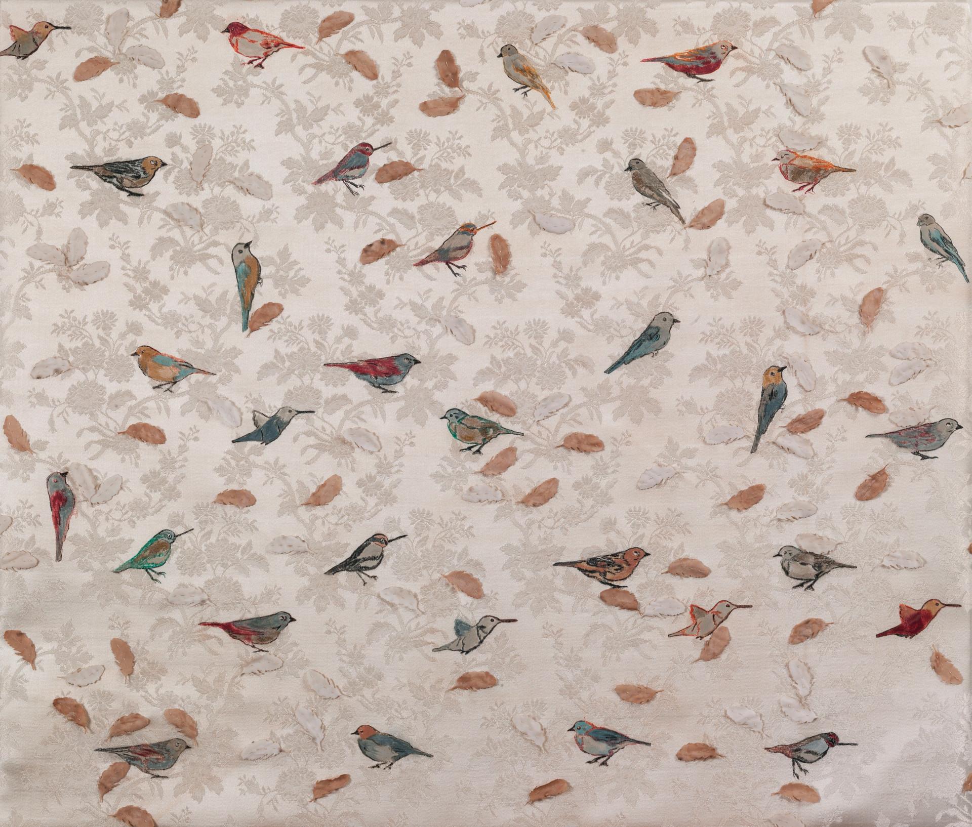 Birds/2014/Etching Acrylic Silk Paper Sewing/65x75 cm