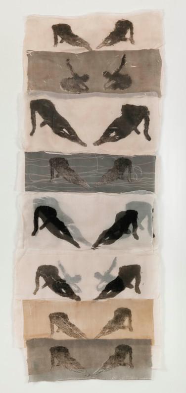 Yoga lesson/2012/Etching Silk/136x57 cm
