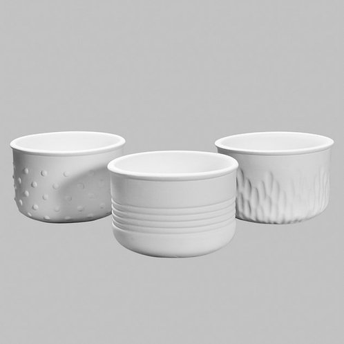 Trio of Textured Bowls (Unpainted)