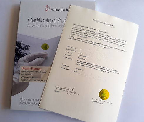 Hanahmule Certificates of Authenticity for Limited Edition Photographic Prints