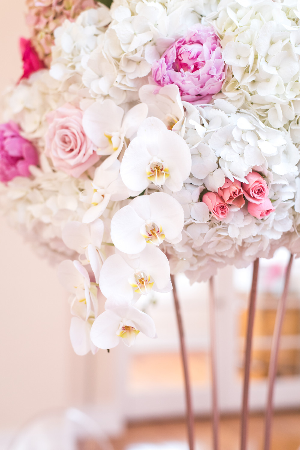 Peonies Hydrangeas Orchids Spray Roses Centerpiece