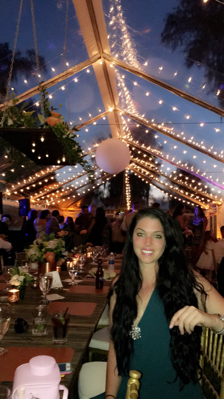 Clear Tent View with Floral Constellation Chandelier