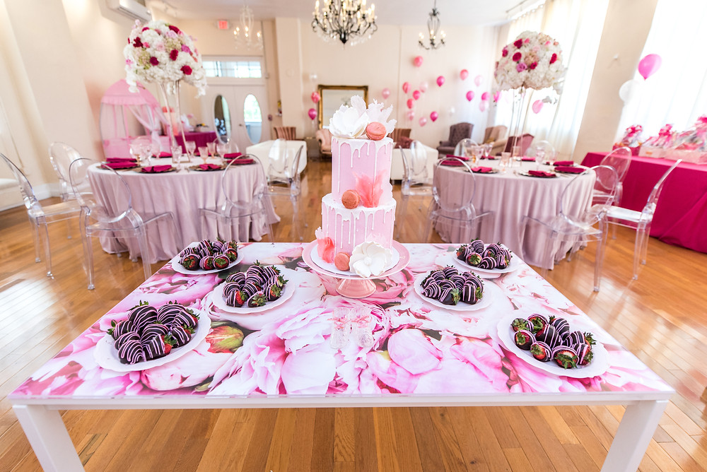 Custom Peony Cake Table by Kayla Huston Events