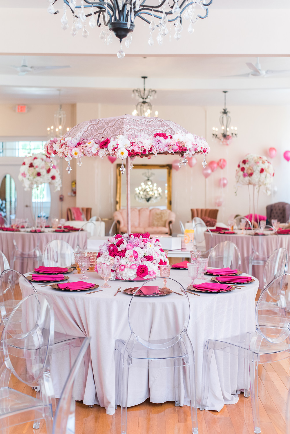 Kayla Huston Events Floral Umbrella Centerpiece
