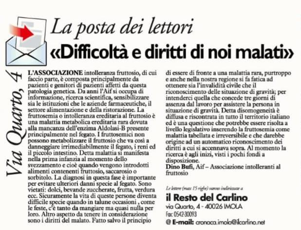 """Articolo de """"Il Resto del Carlino"""""""