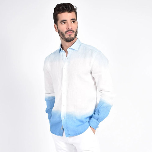 Blue Ombre` Fitted Shirt