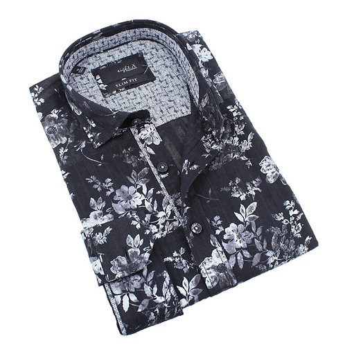 Black Metallic Floral Print Fitted Shirt
