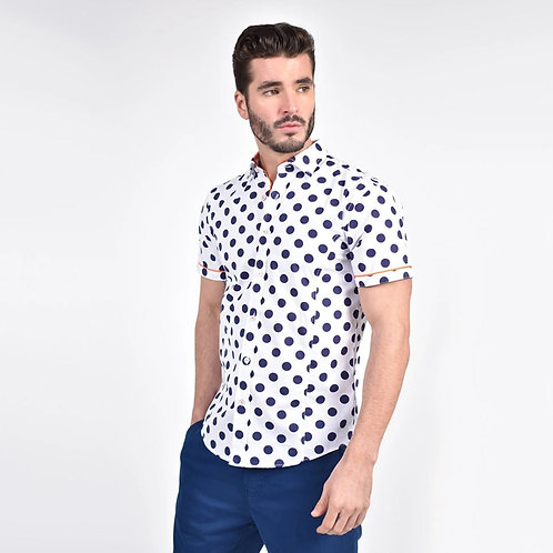 Jet Blue Polka Dot Print Fitted Shirt