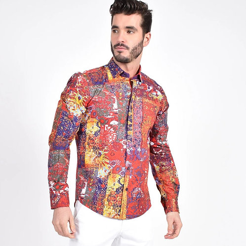 Stucco Painting Print Fitted Shirt