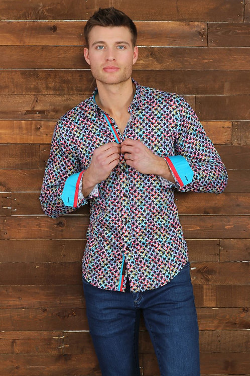 Multi Color Diamond Print Fitted Shirt