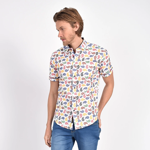 Mod Paisley Print Fitted Shirt