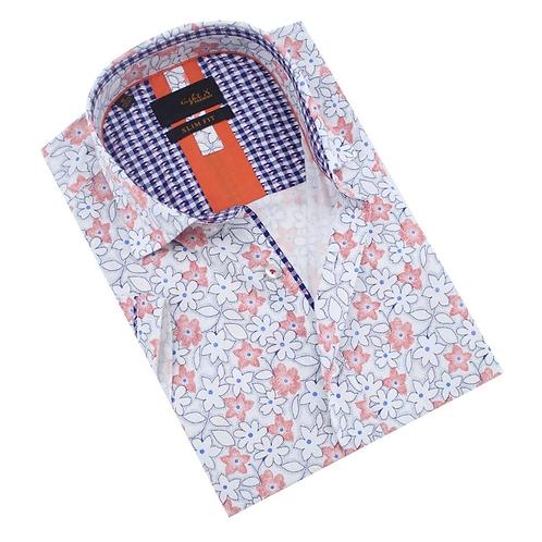Red Geranium Flower Print Fitted Shirt