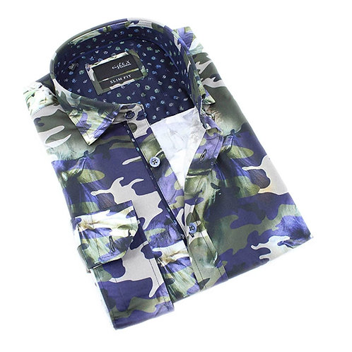 Camo Pastures Print Fitted Shirt