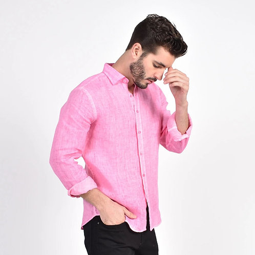Solid Pink Linen Fitted Shirt