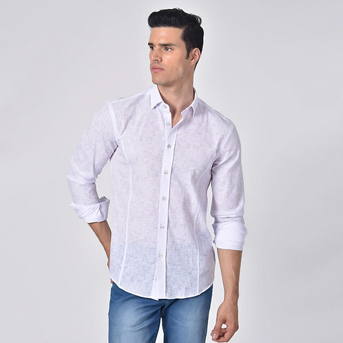 Crackle Jacquard Print Fitted Shirt