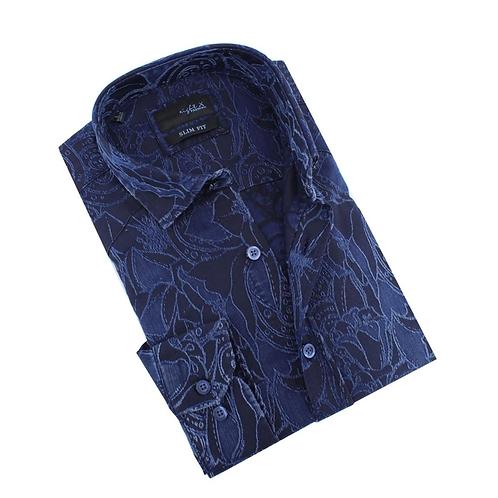 Denim Tapestry Design Stretch Jacquard Shirt