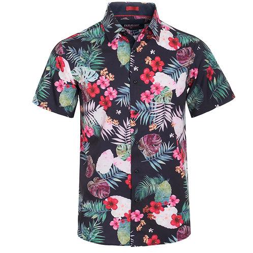 Black Floral Stretch Shirt