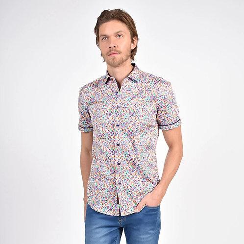 Rainbow Confetti Print Fitted Shirt