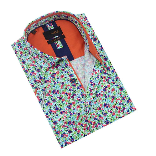 Spring Melody Floral Print Fitted Shirt