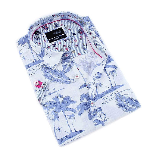 Indigo Palm Print Fitted Shirt