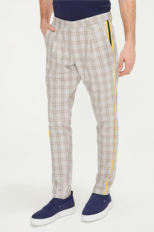Checkerboard Slim Fit Casual Pants (Yellow Bird)
