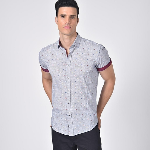 Tri-Color Paisley Print Fitted Shirt