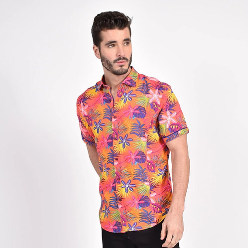 Sunset Hawaiian Print Fitted Shirt
