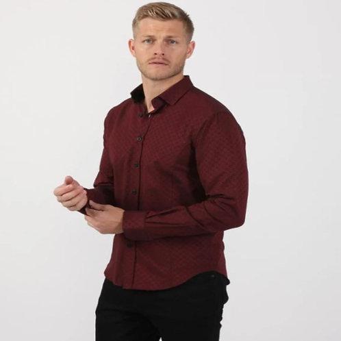 Burgundy Print Fitted Shirt