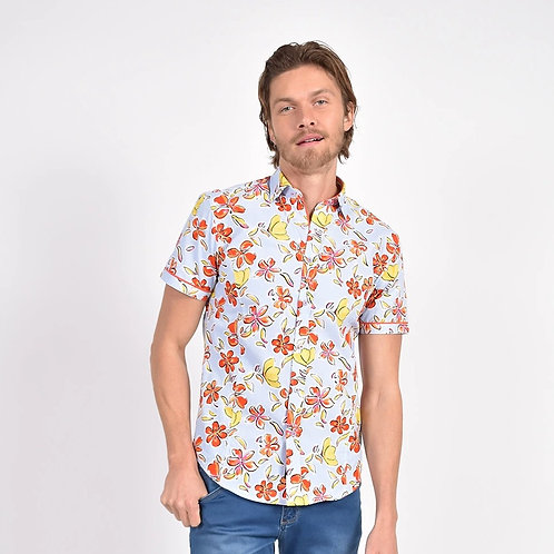 Daylily in the Sky Print Fitted Shirt
