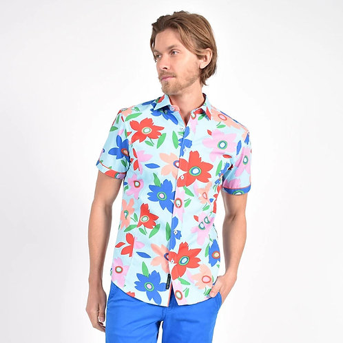 Coral Pop Art Print Fittted Shirt