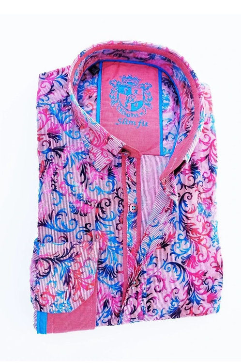 Fuchsia Flocking Print Fitted Shirt