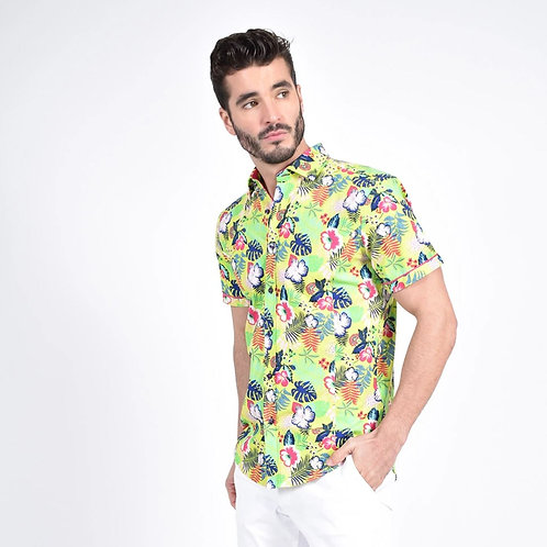 Lime Green Hawaiian Print Fitted Shirt
