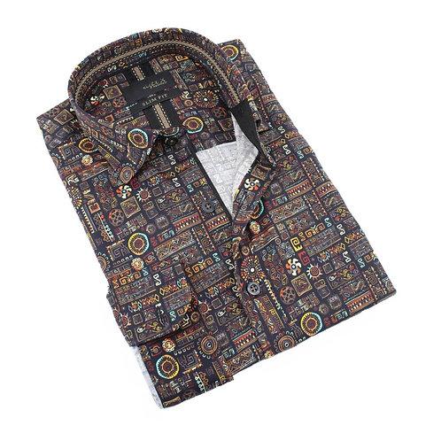 Aztec Symbol Print Fitted Shirt