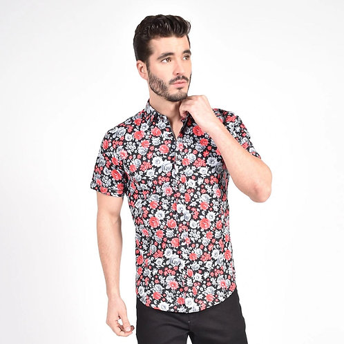 Red Monochromatic Rose Print Fitted Shirt