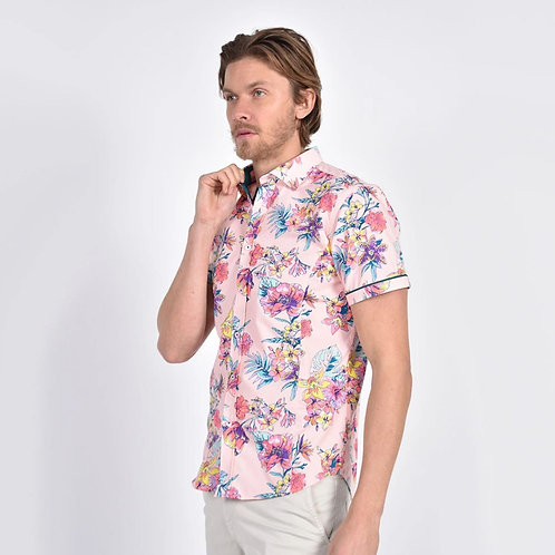 Pink Bird of Paradise Print Fitted Shirt