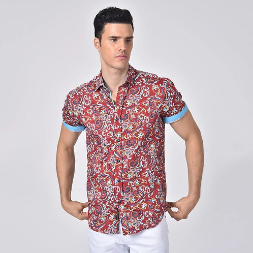 Large Paisley Print Fitted Shirt