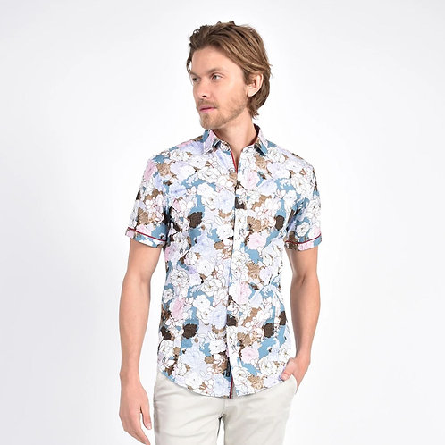 Peony Illustration Print Fitted Shirt