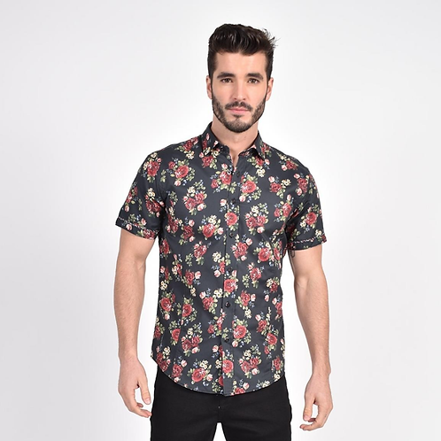 Vintage Rose Print Fitted Shirt
