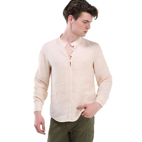 Washed Henley Linen Shirt (Stone)